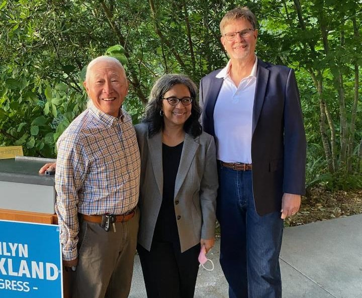 Arivva board member Paul Ban and Executive Director Dan Bissonnette posing for a photo with US Congresswoman Marilyn Strickland.